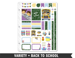 Variety • Back to School Weekly Spread Planner Stickers - Planner Penny
