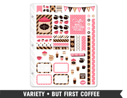 Variety • But First Coffee Weekly Spread Planner Stickers