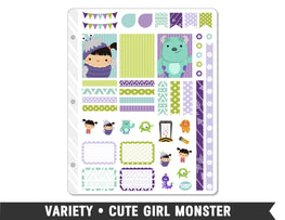 Variety • Cute Girl Monster Weekly Spread Planner Stickers