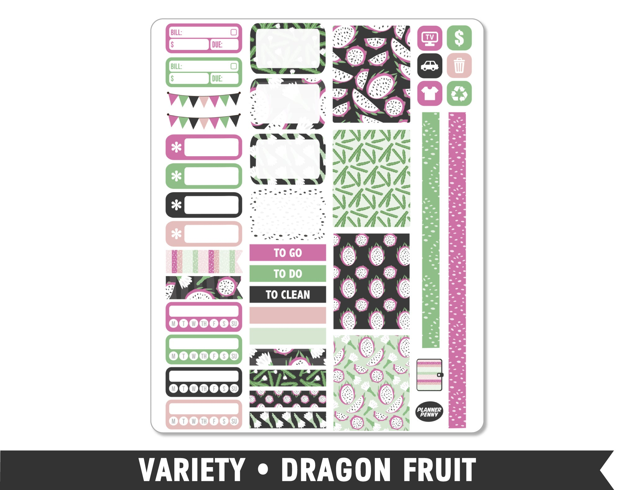 Variety • Dragon Fruit Weekly Spread Planner Stickers - Planner Penny