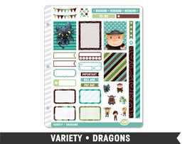 Variety • Dragons Weekly Spread Planner Stickers - Planner Penny
