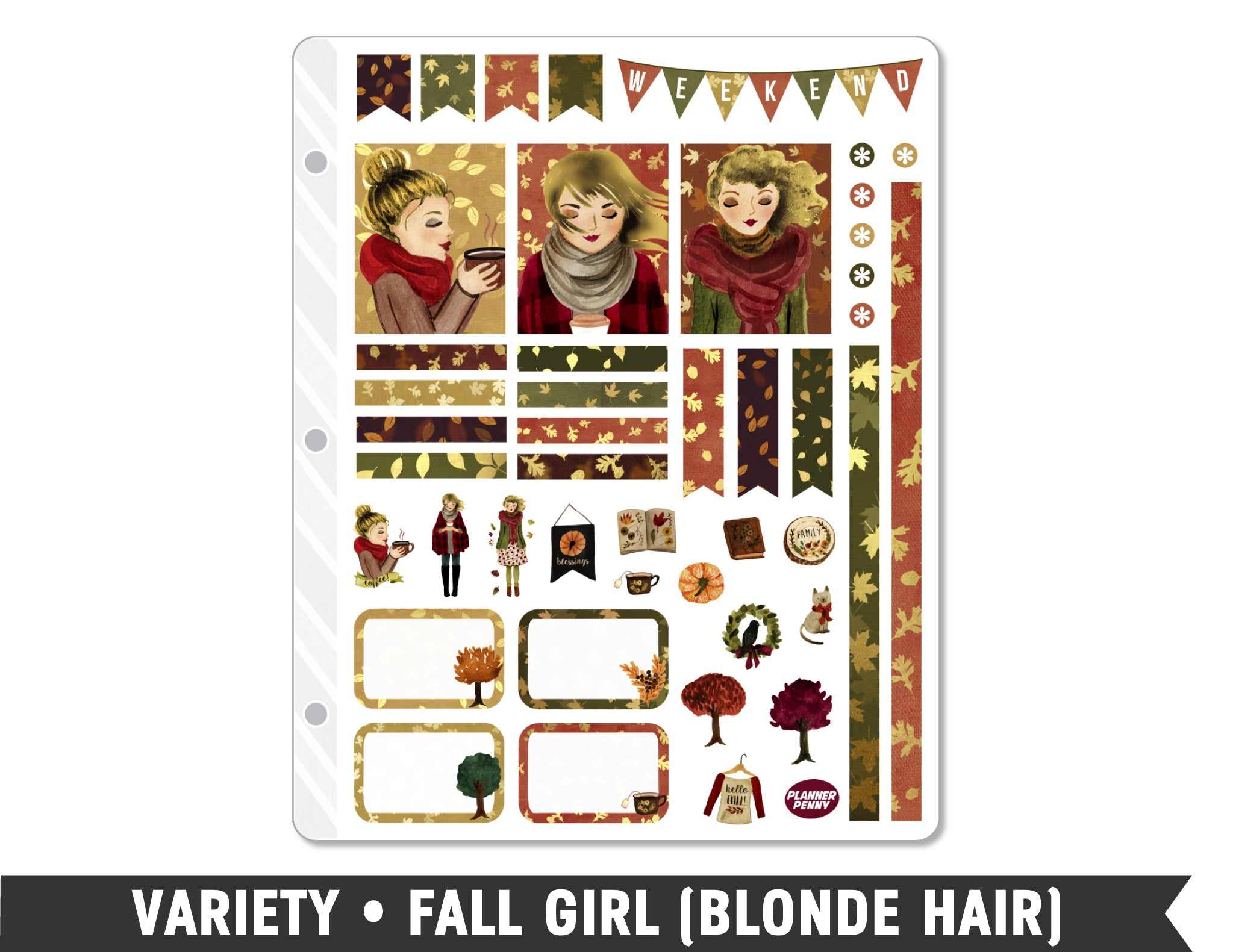 Variety • Fall Girl Weekly Spread Planner Stickers