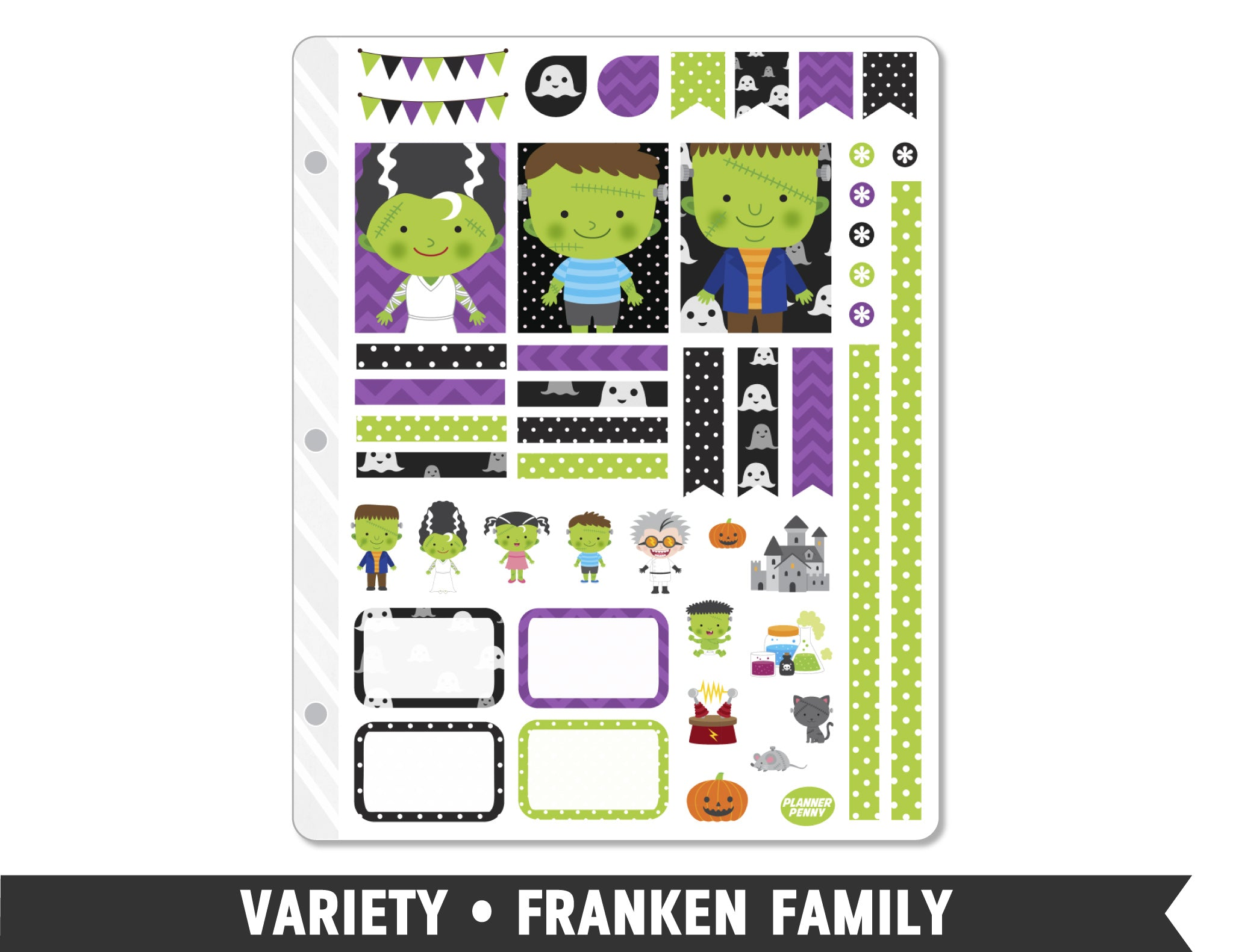 Variety • Franken Family Weekly Spread Planner Stickers - Planner Penny