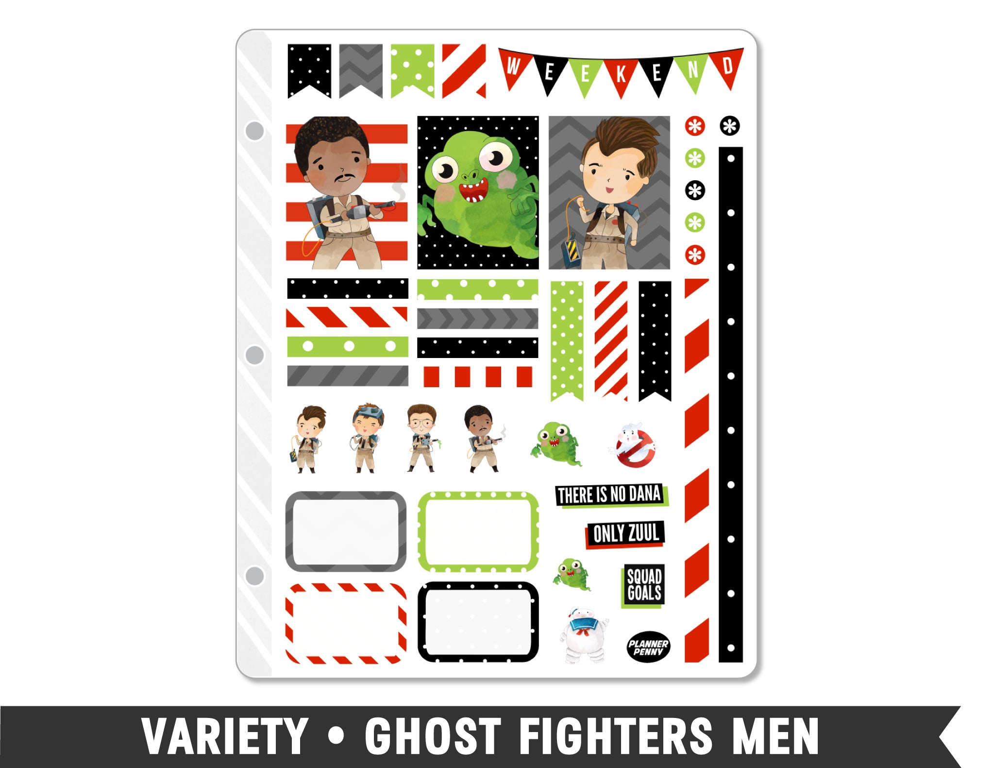 Variety • Ghost Fighters Men Weekly Spread Planner Stickers
