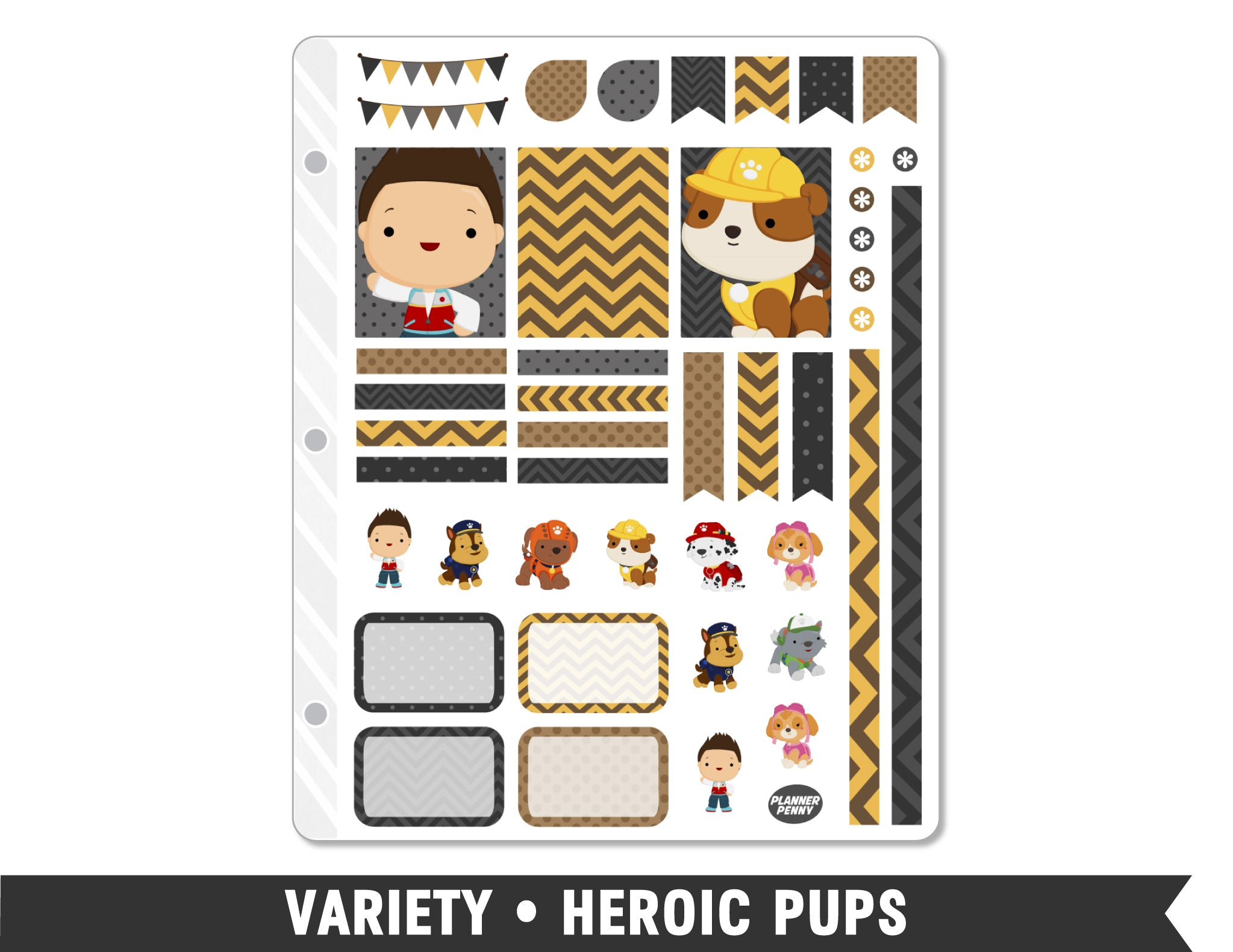 Variety • Heroic Pups Weekly Spread Planner Stickers - Planner Penny