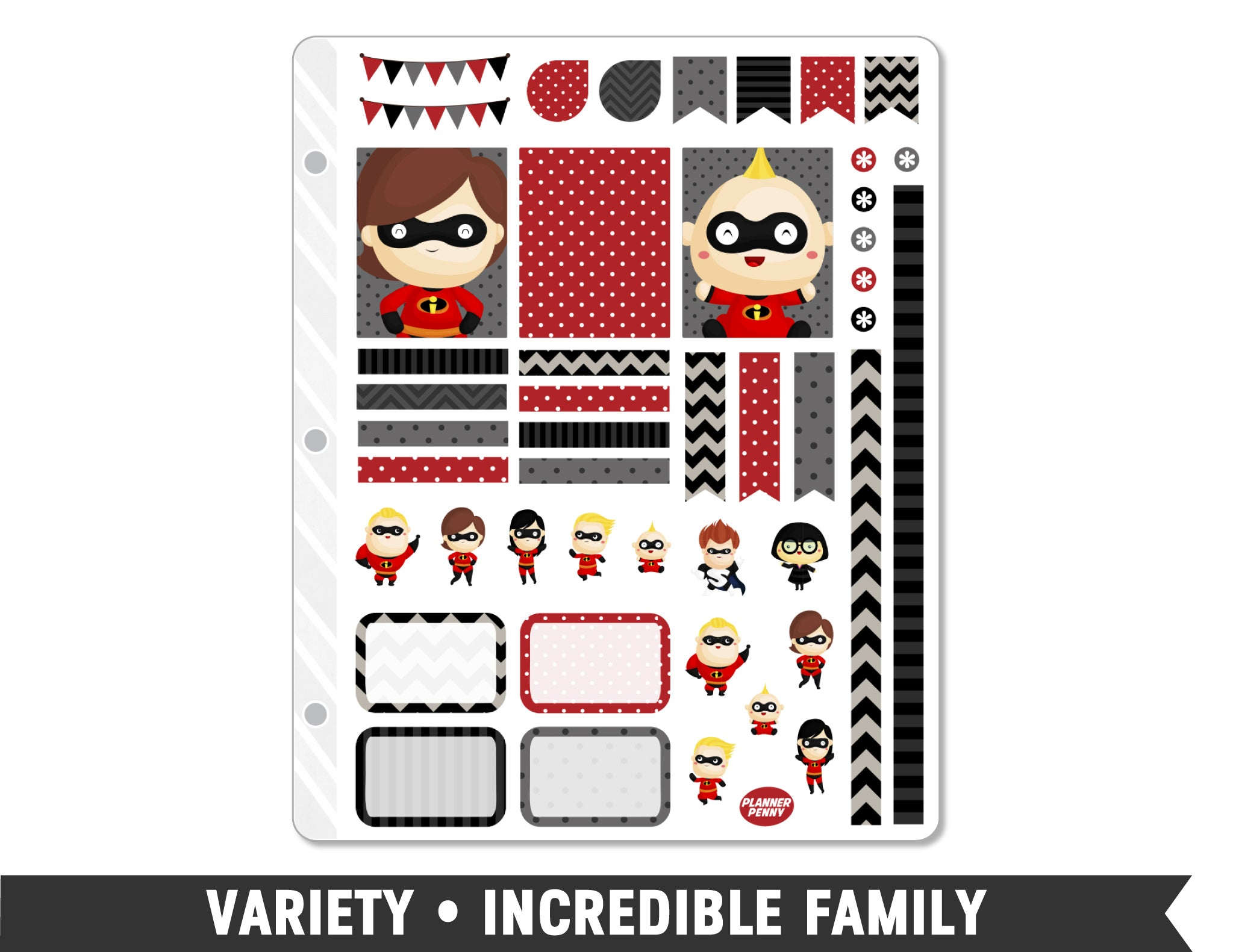 Variety • Incredible Family Weekly Spread Planner Stickers - Planner Penny