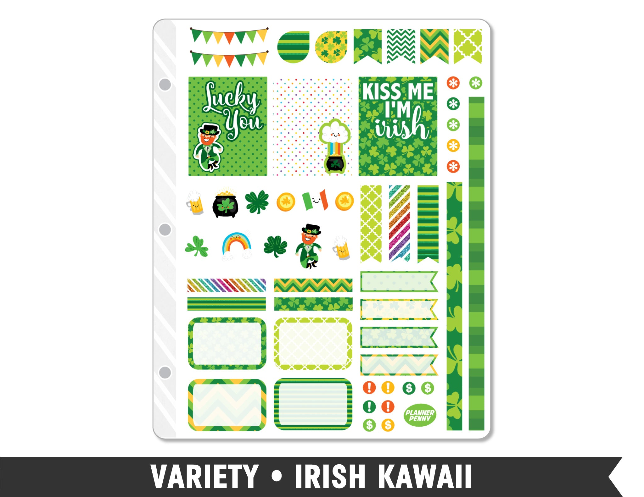 Variety • Irish Kawaii Weekly Spread Planner Stickers