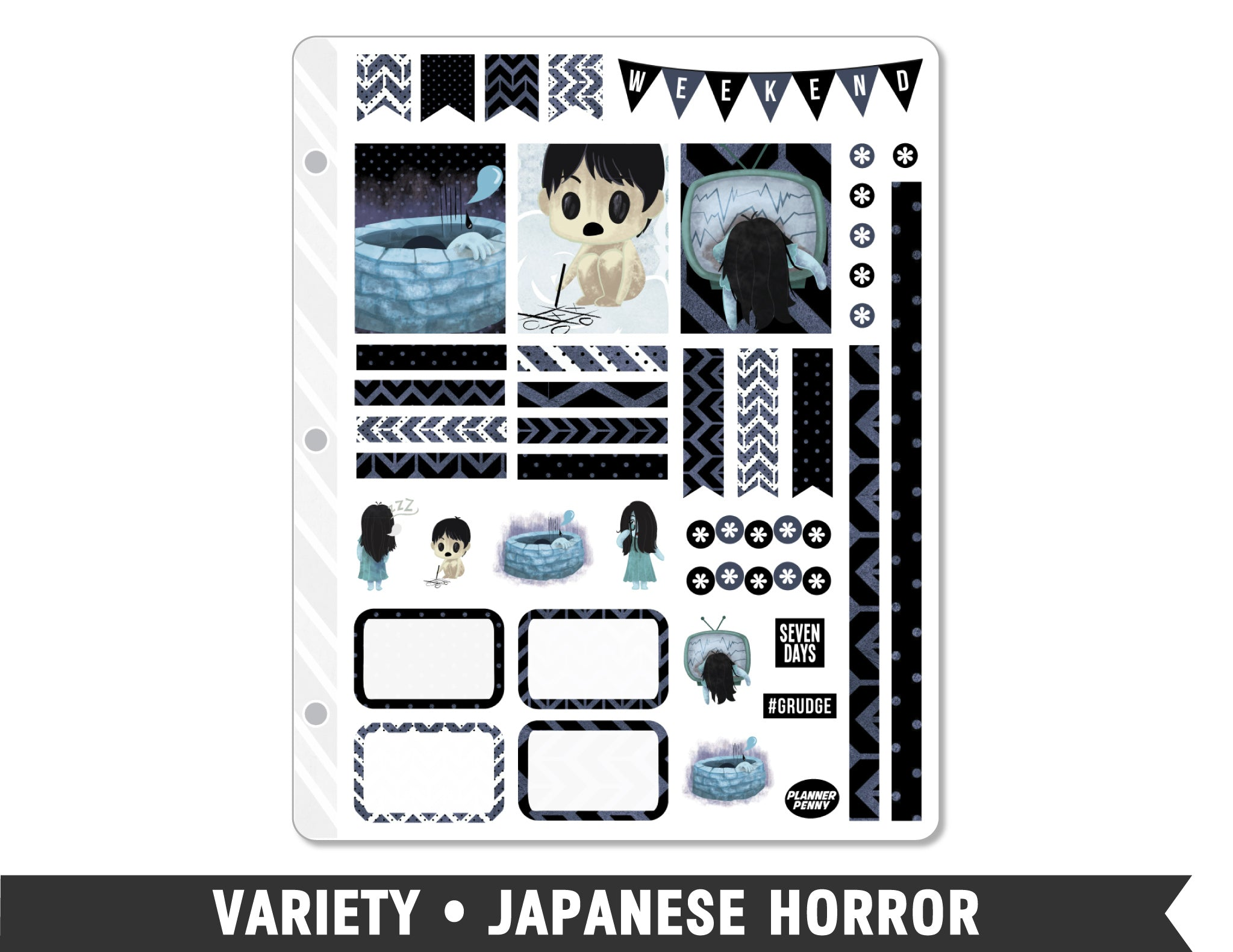 Variety • Japanese Horror Weekly Spread Planner Stickers - Planner Penny