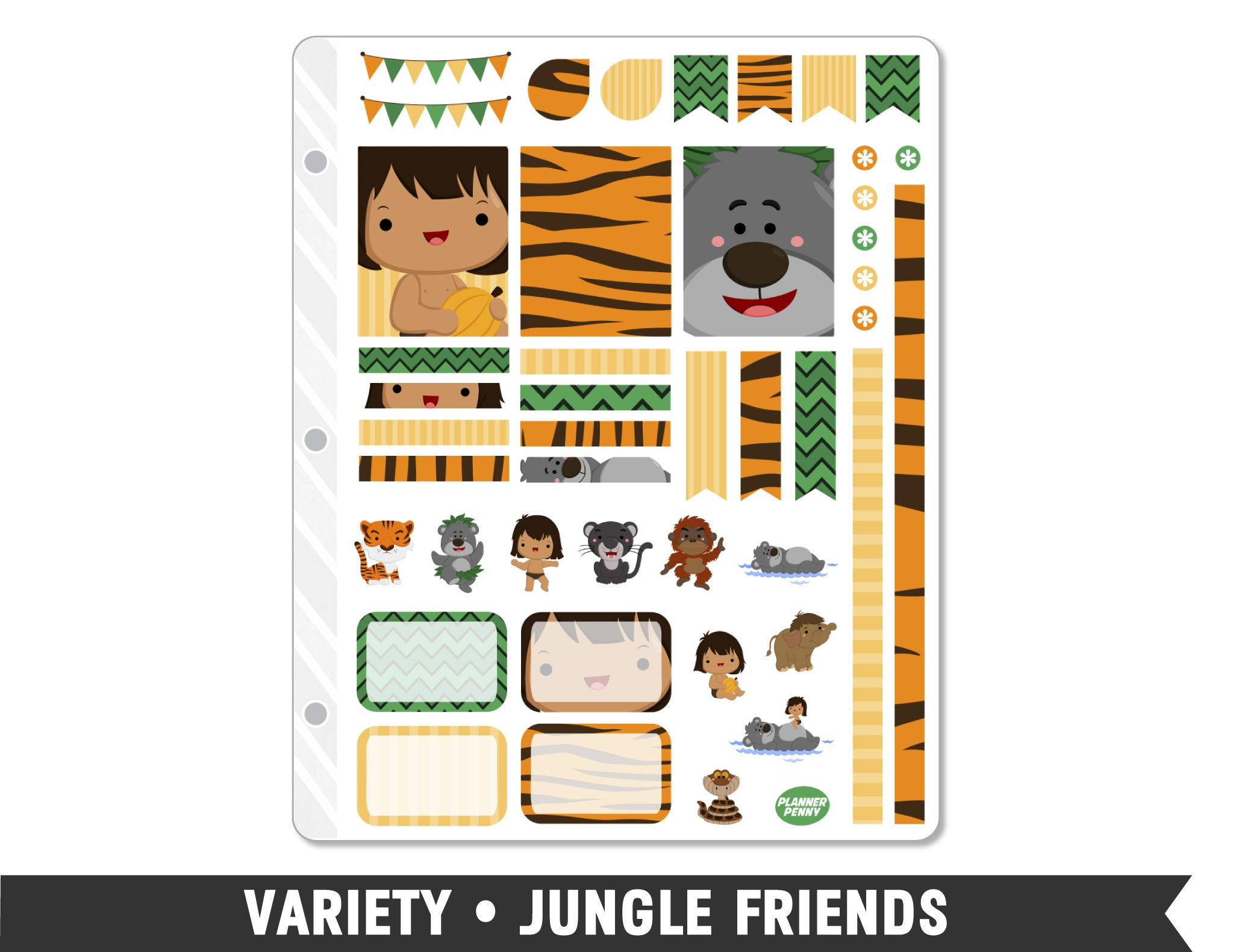 Variety • Jungle Friends Weekly Spread Planner Stickers