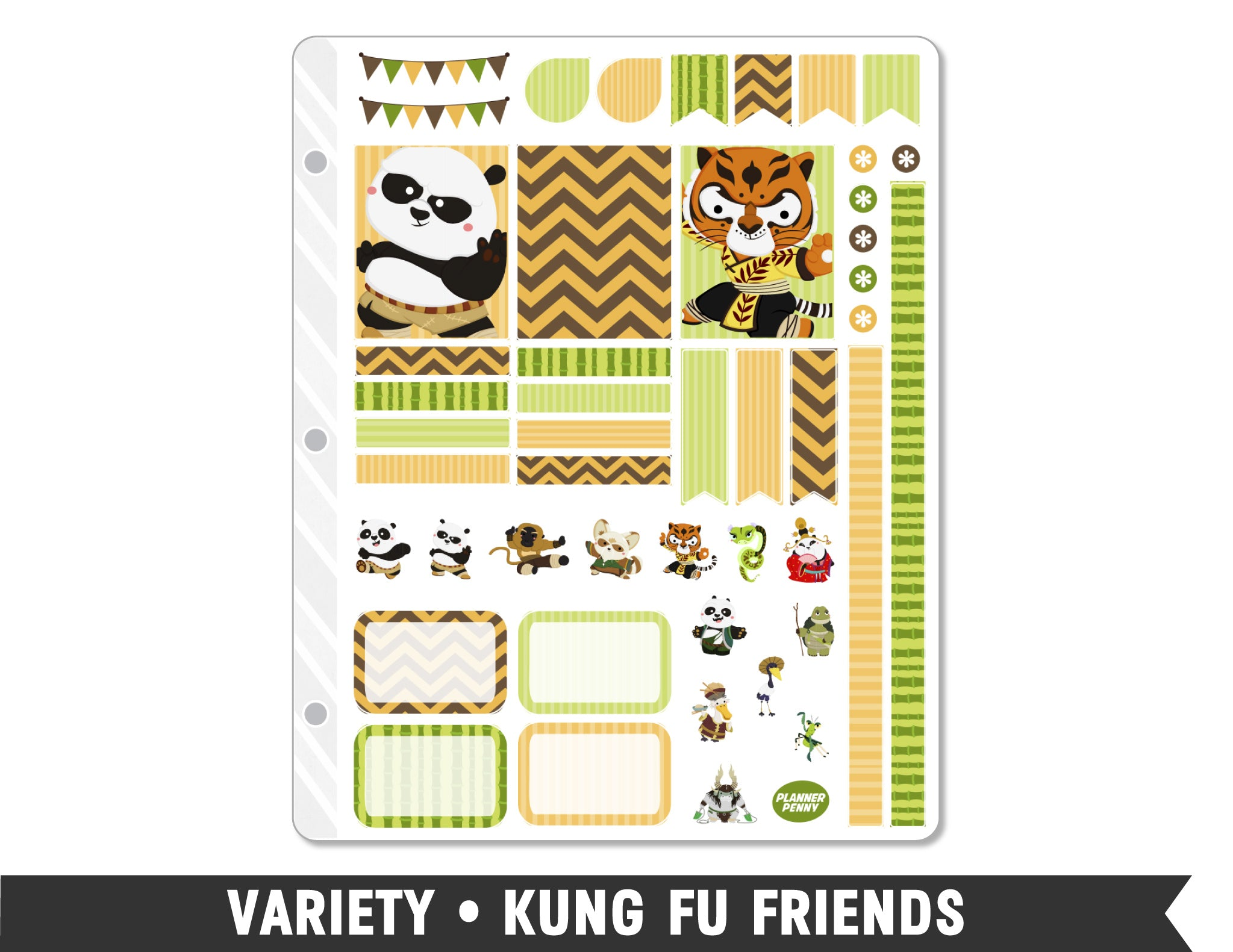 Variety • Kung Fu Friends Weekly Spread Planner Stickers - Planner Penny