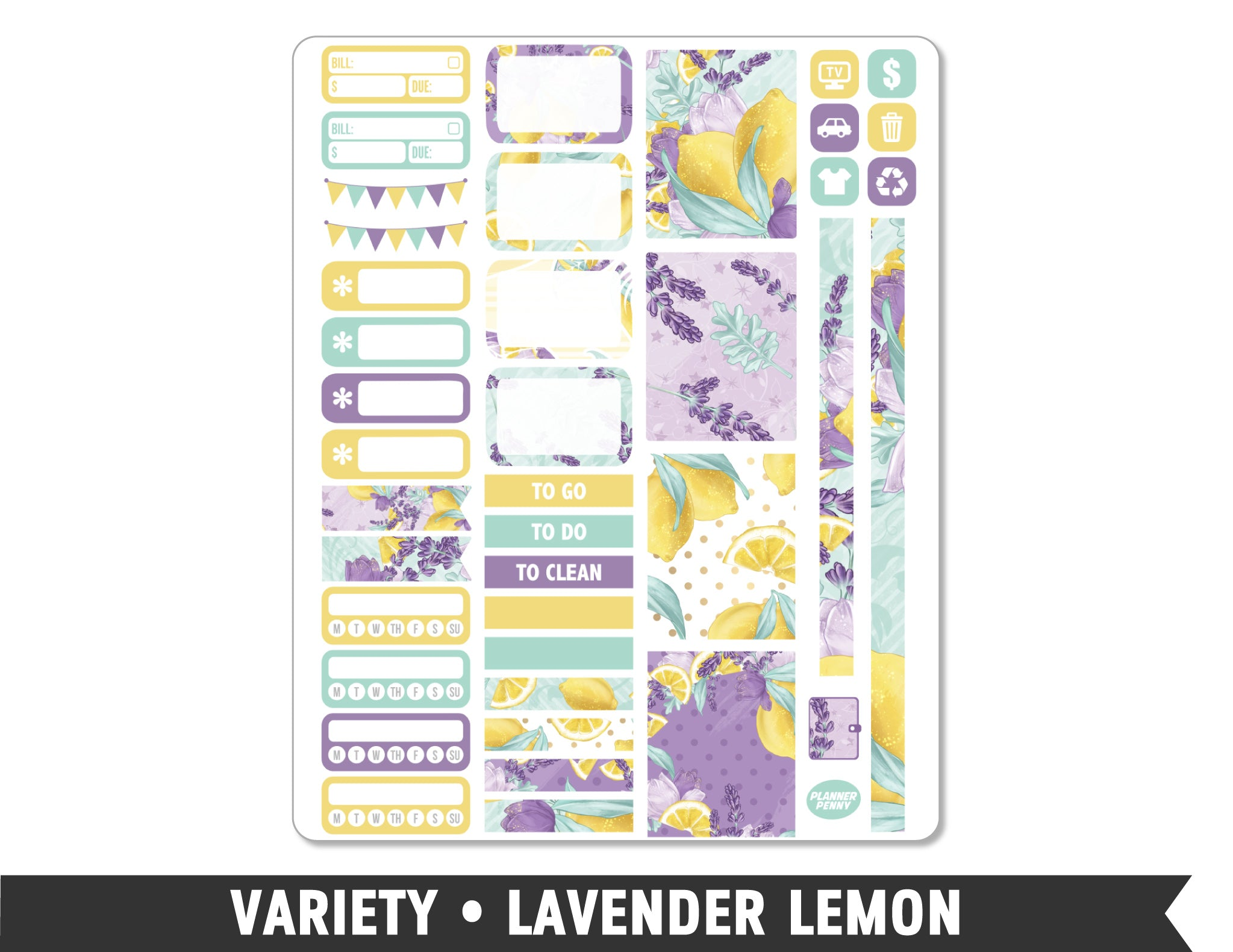 Variety • Lavender Lemon Weekly Spread Planner Stickers