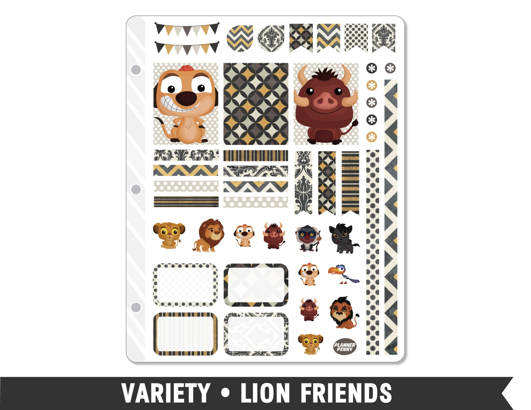 Variety • Lion Friends Weekly Spread Planner Stickers