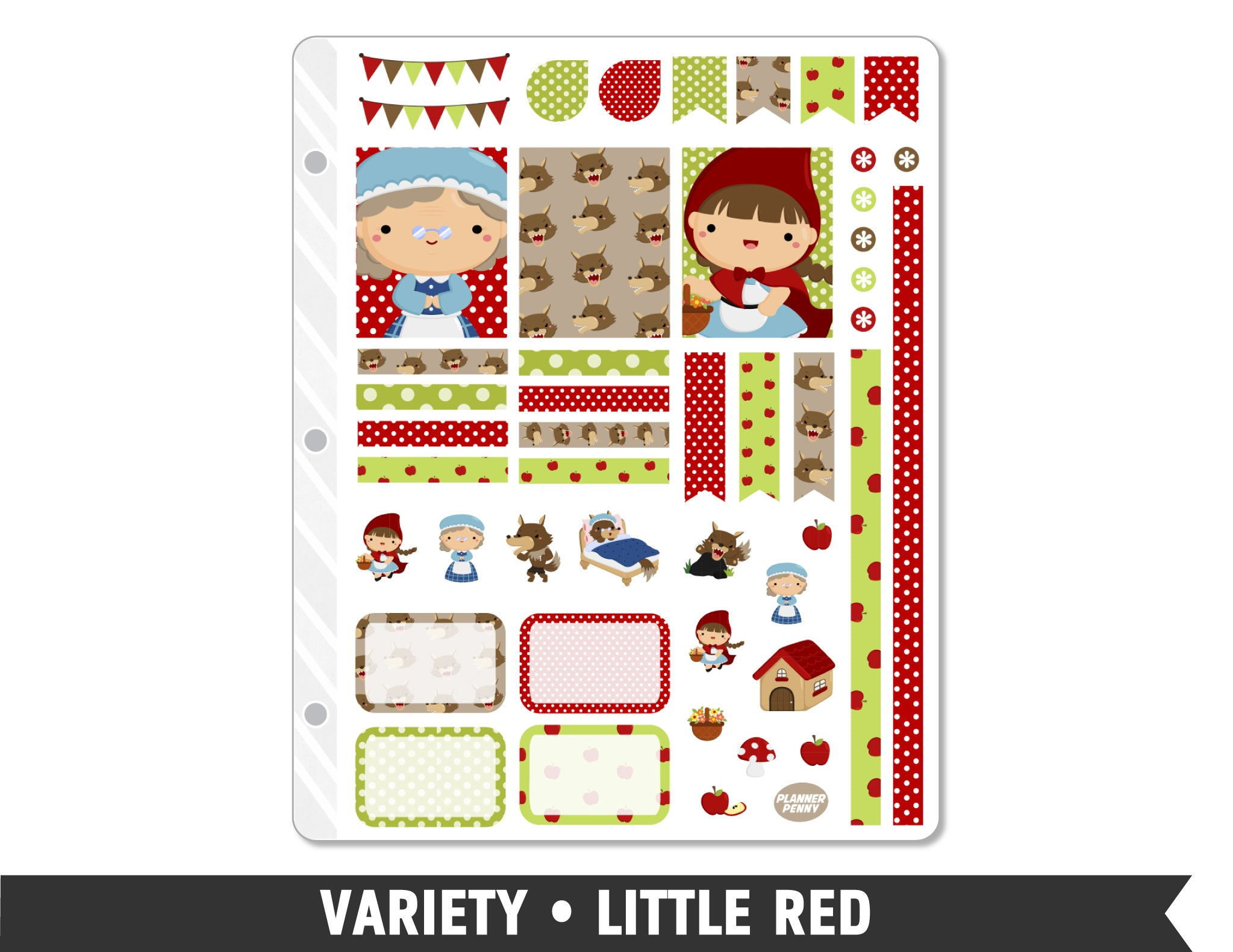 Variety • Little Red Weekly Spread Planner Stickers - Planner Penny