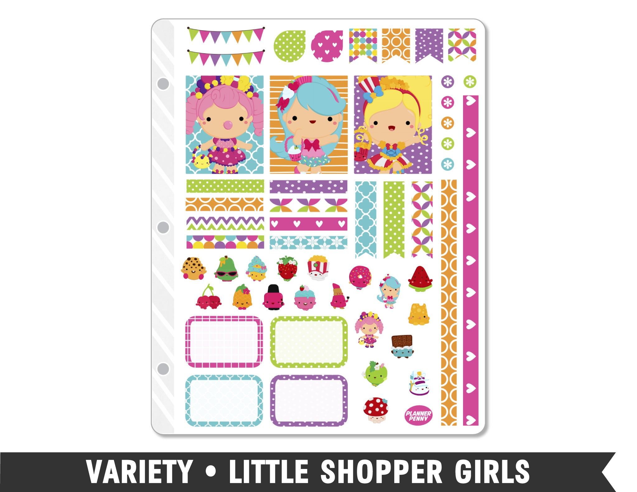 Variety • Little Shopper Girls Weekly Spread Planner Stickers - Planner Penny