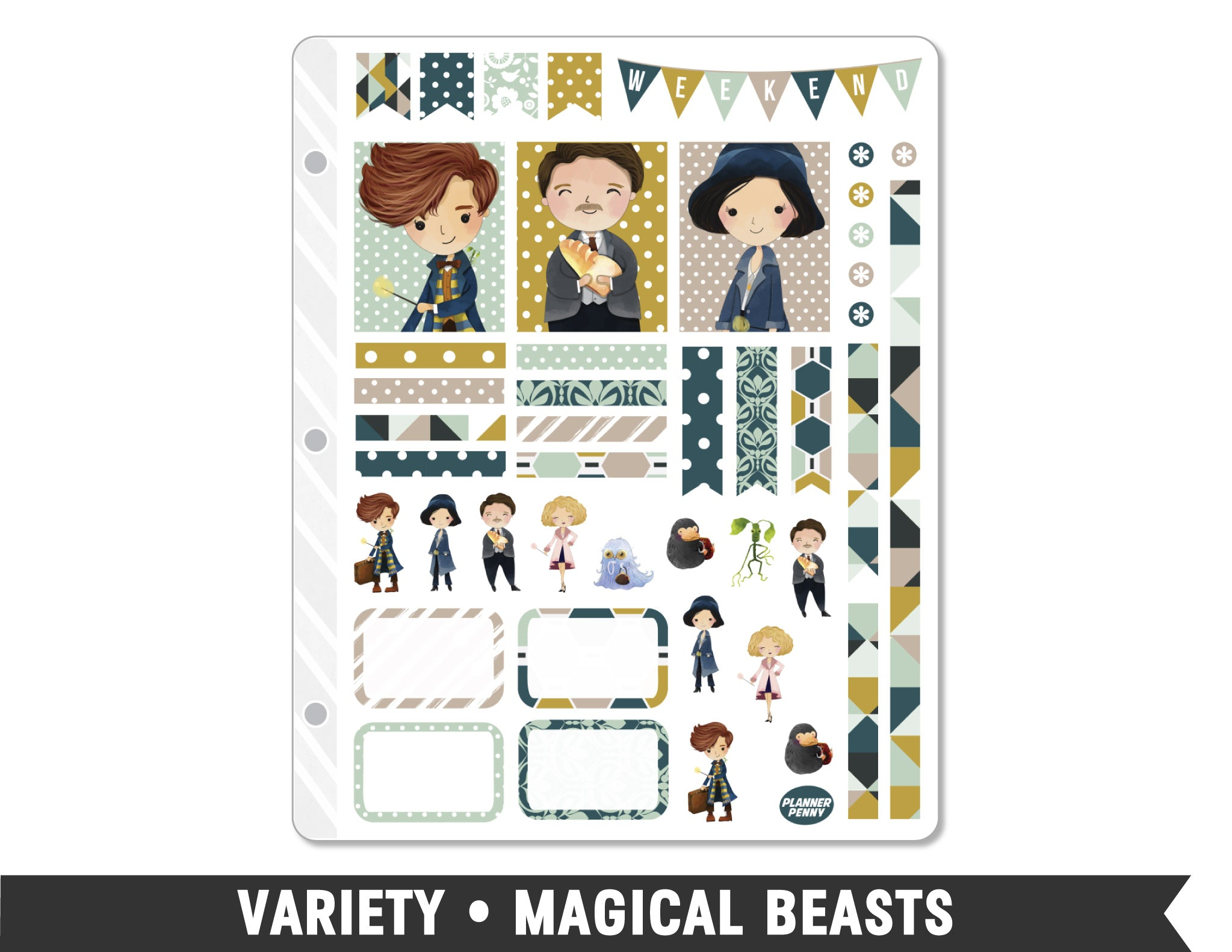 Variety • Magical Beasts Weekly Spread Planner Stickers - Planner Penny