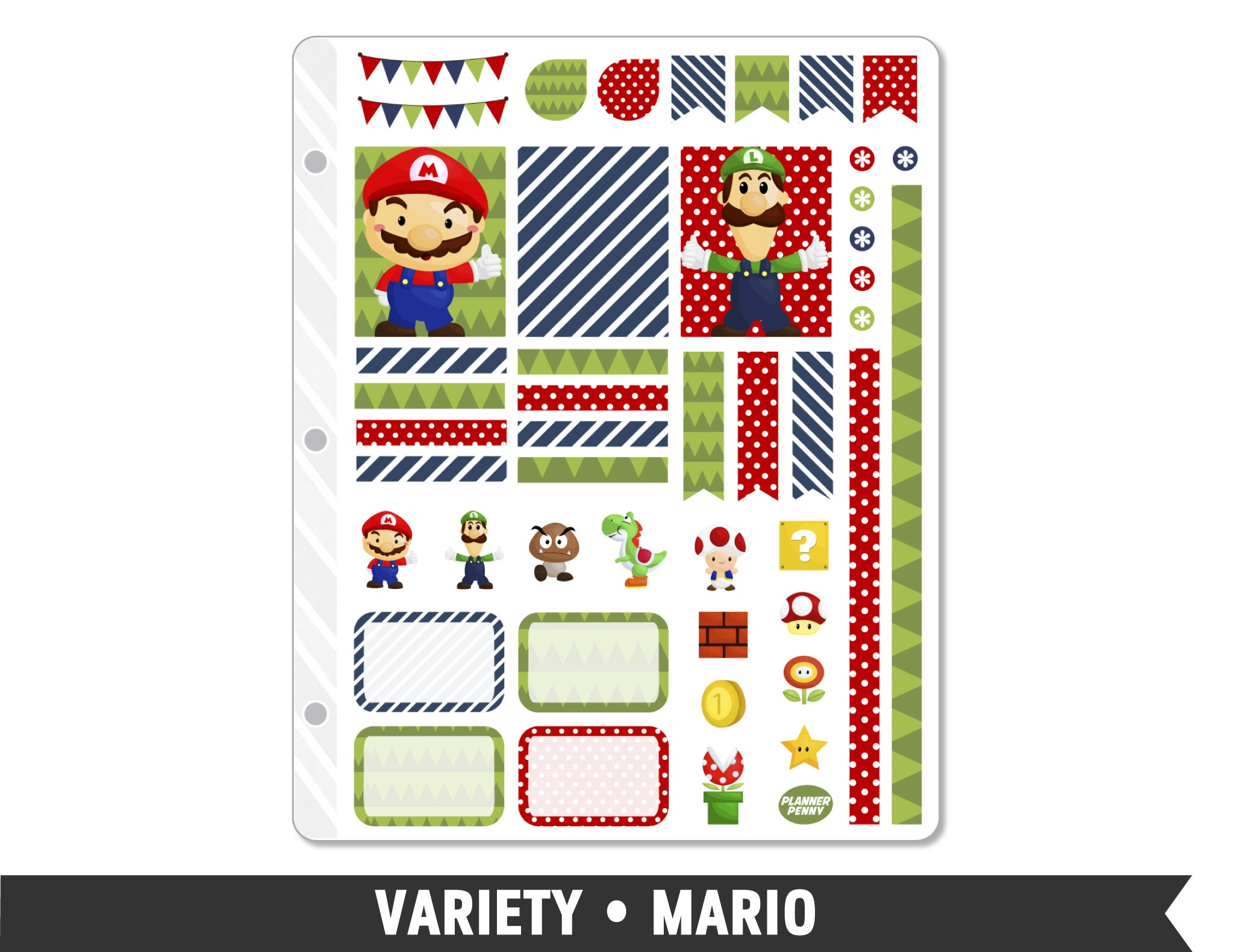 Variety • Mario Weekly Spread Planner Stickers - Planner Penny