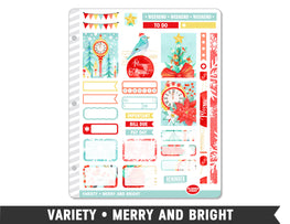 Variety • Merry and Bright Weekly Spread Planner Stickers - Planner Penny