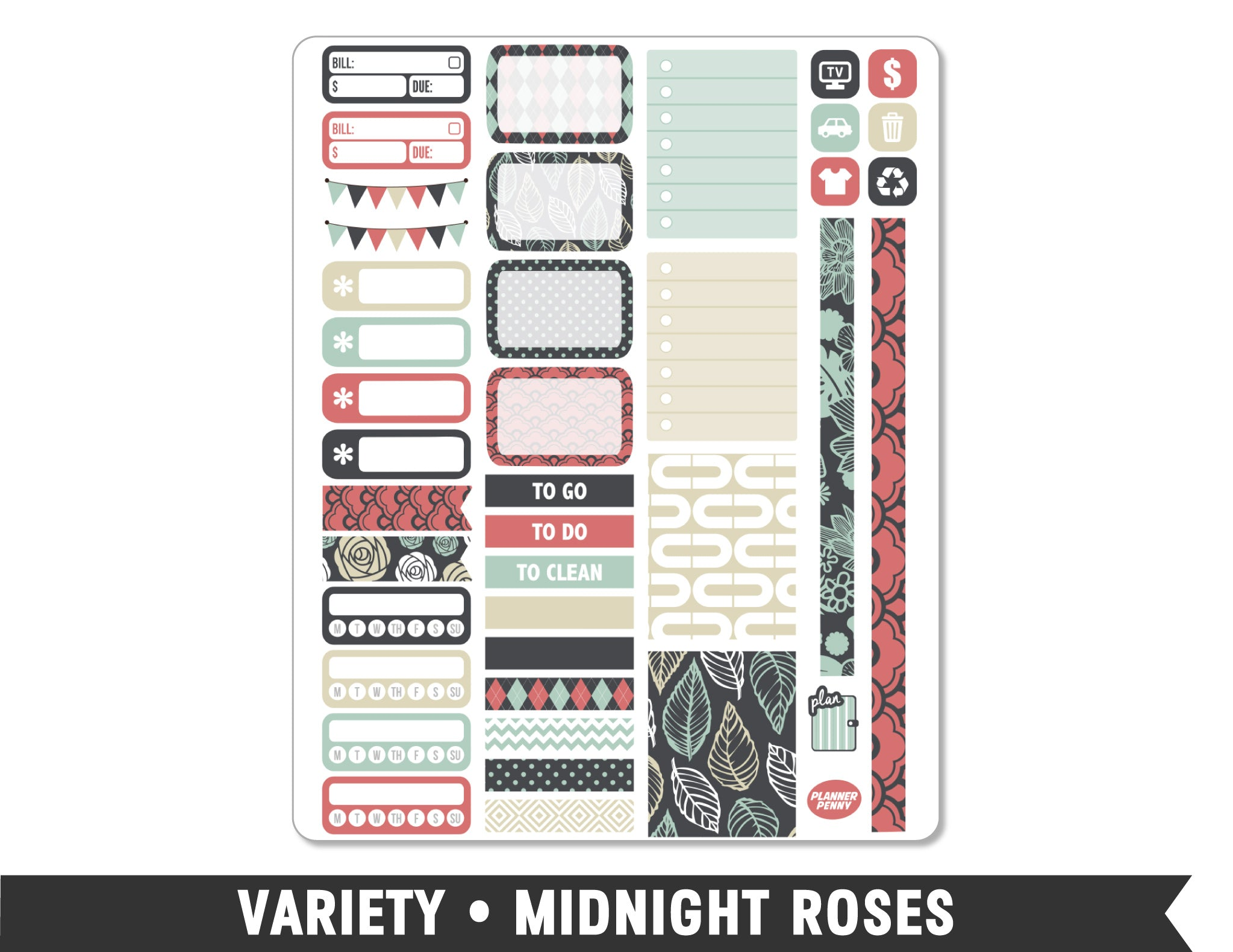 Variety • Midnight Roses Weekly Spread Planner Stickers
