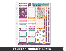 Variety • Monster Bones Weekly Spread Planner Stickers