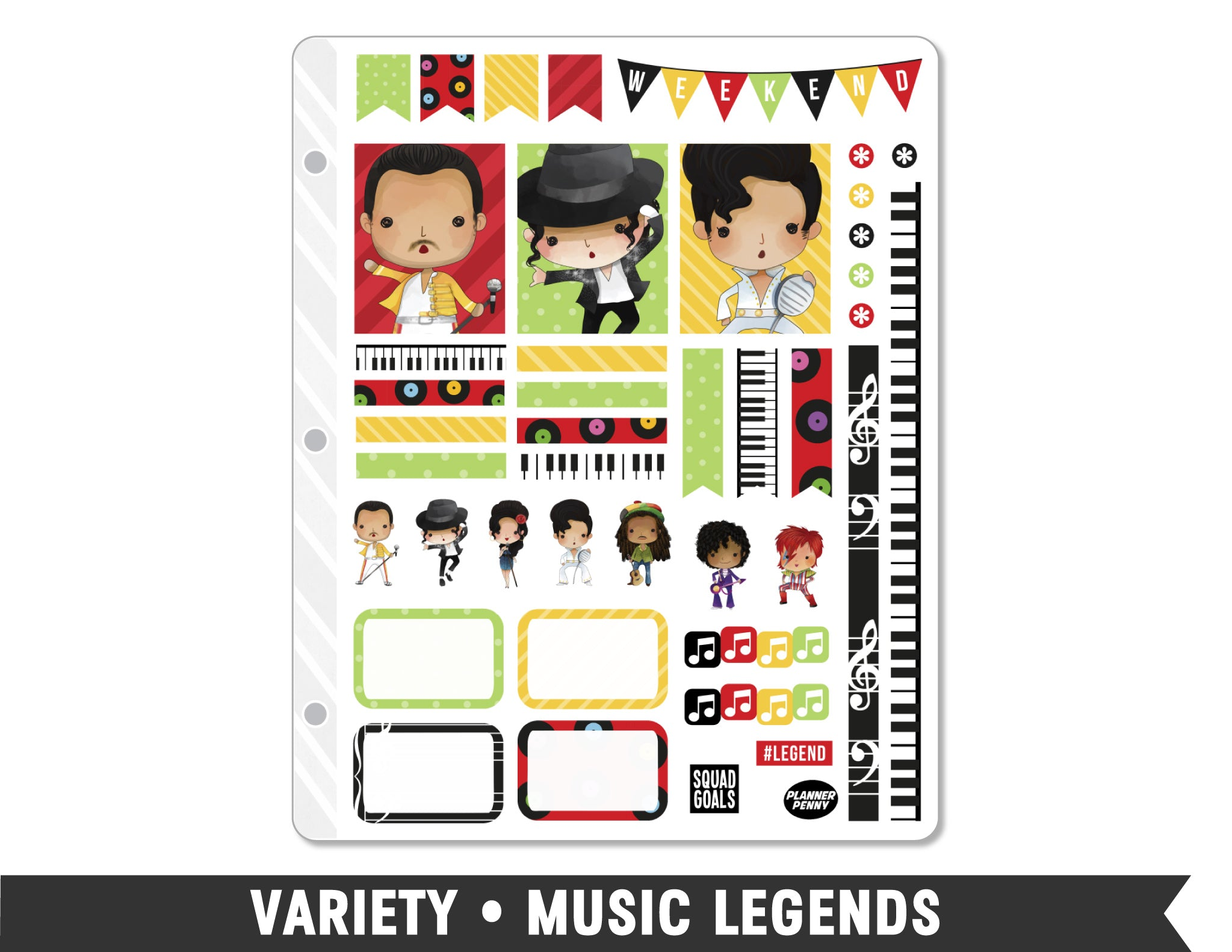 Variety • Music Legends Weekly Spread Planner Stickers