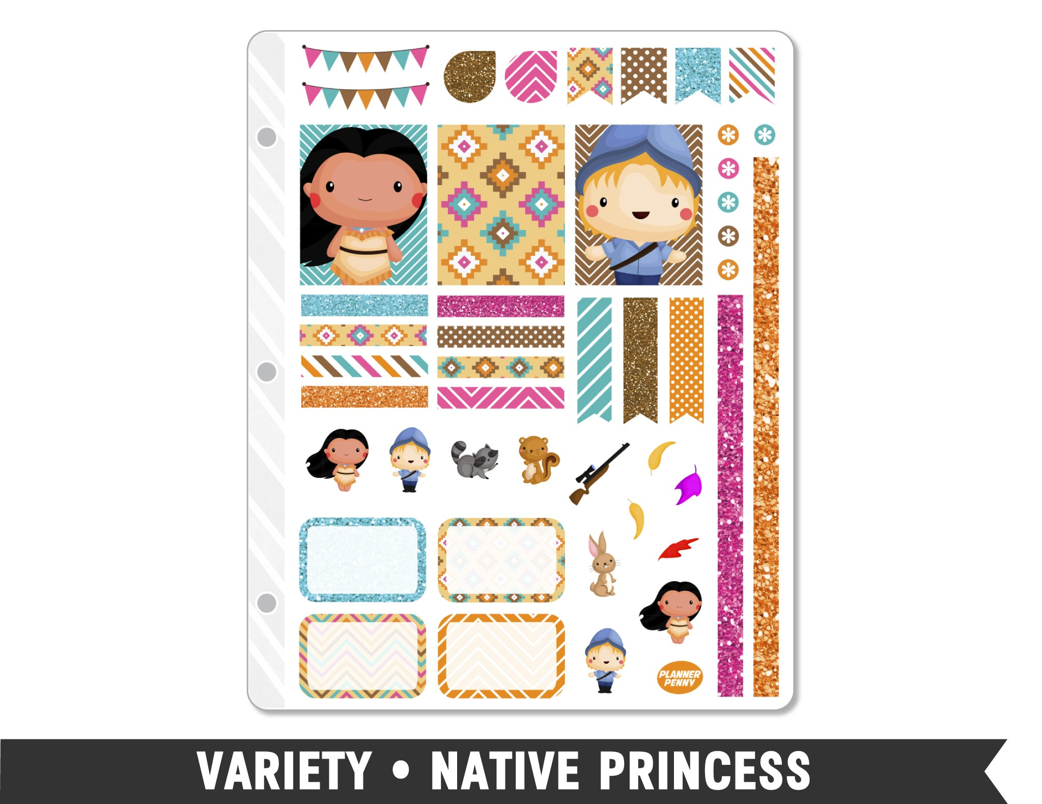 Variety • Native Princess Weekly Spread Planner Stickers - Planner Penny