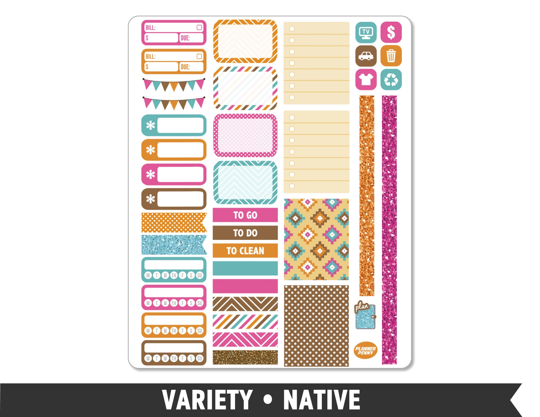 Variety • Native Weekly Spread Planner Stickers