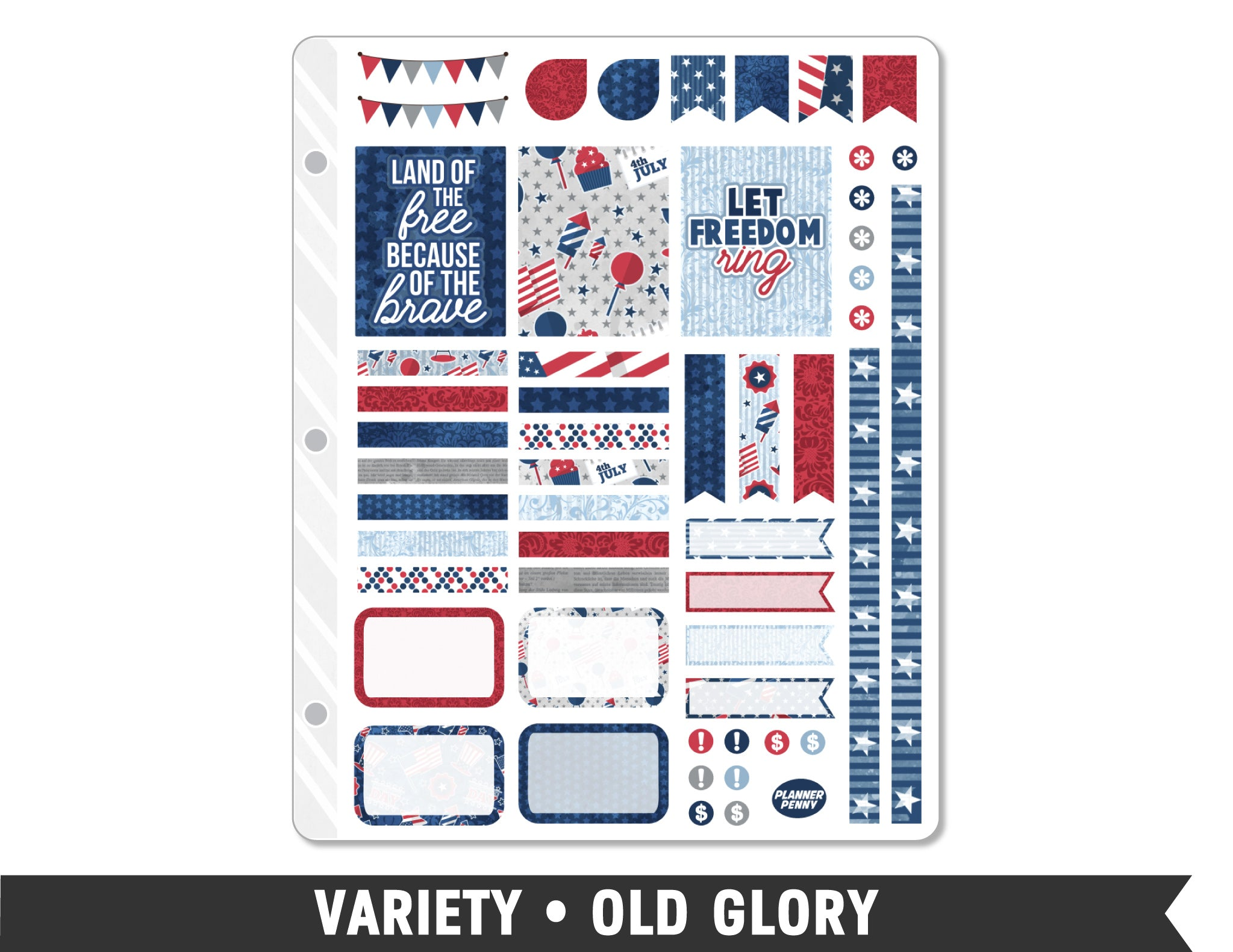 Variety • Old Glory Weekly Spread Planner Stickers - Planner Penny