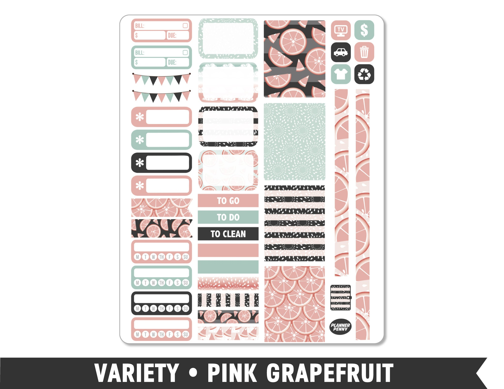 Variety • Pink Grapefruit Weekly Spread Planner Stickers - Planner Penny