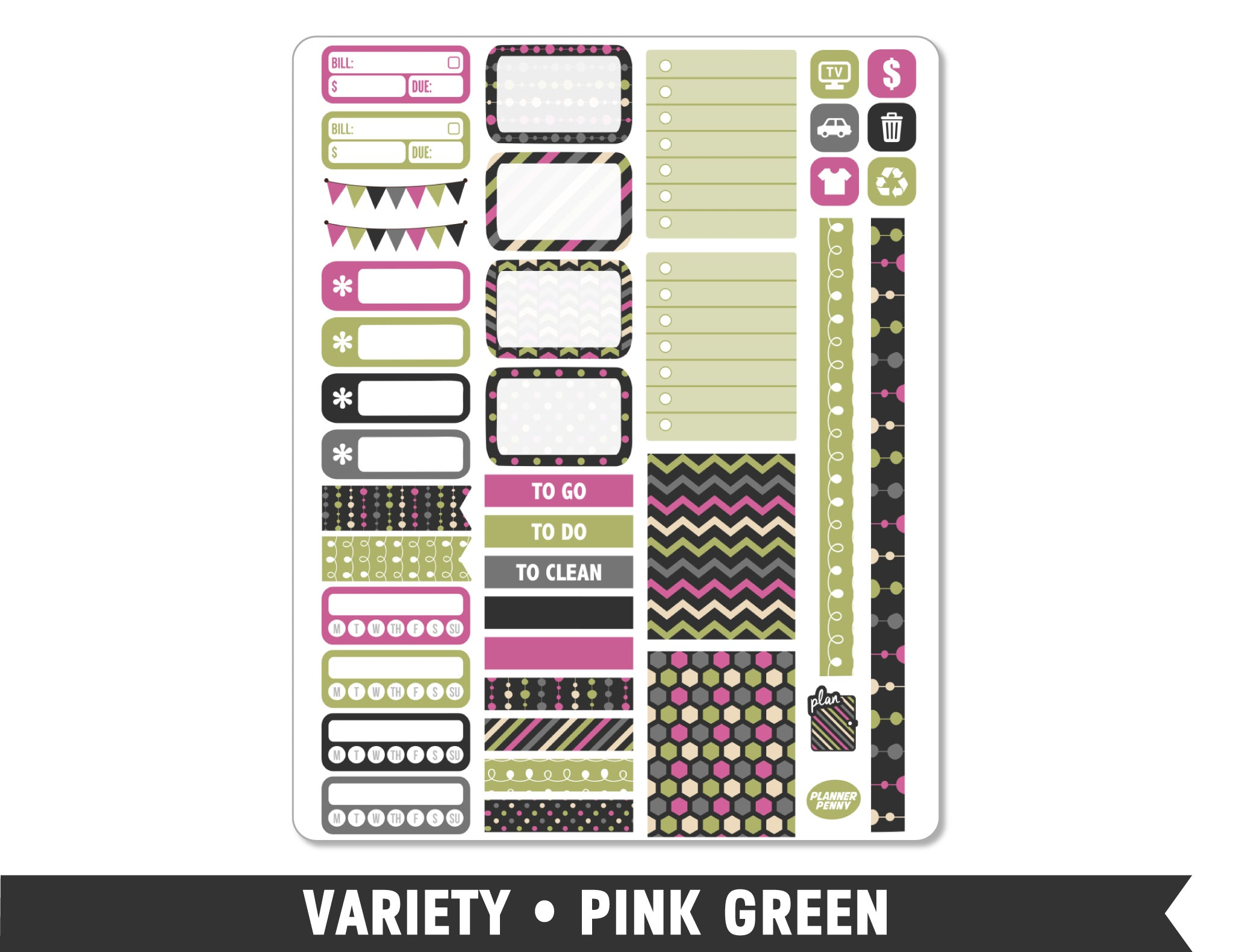 Variety • Pink Green Weekly Spread Planner Stickers - Planner Penny