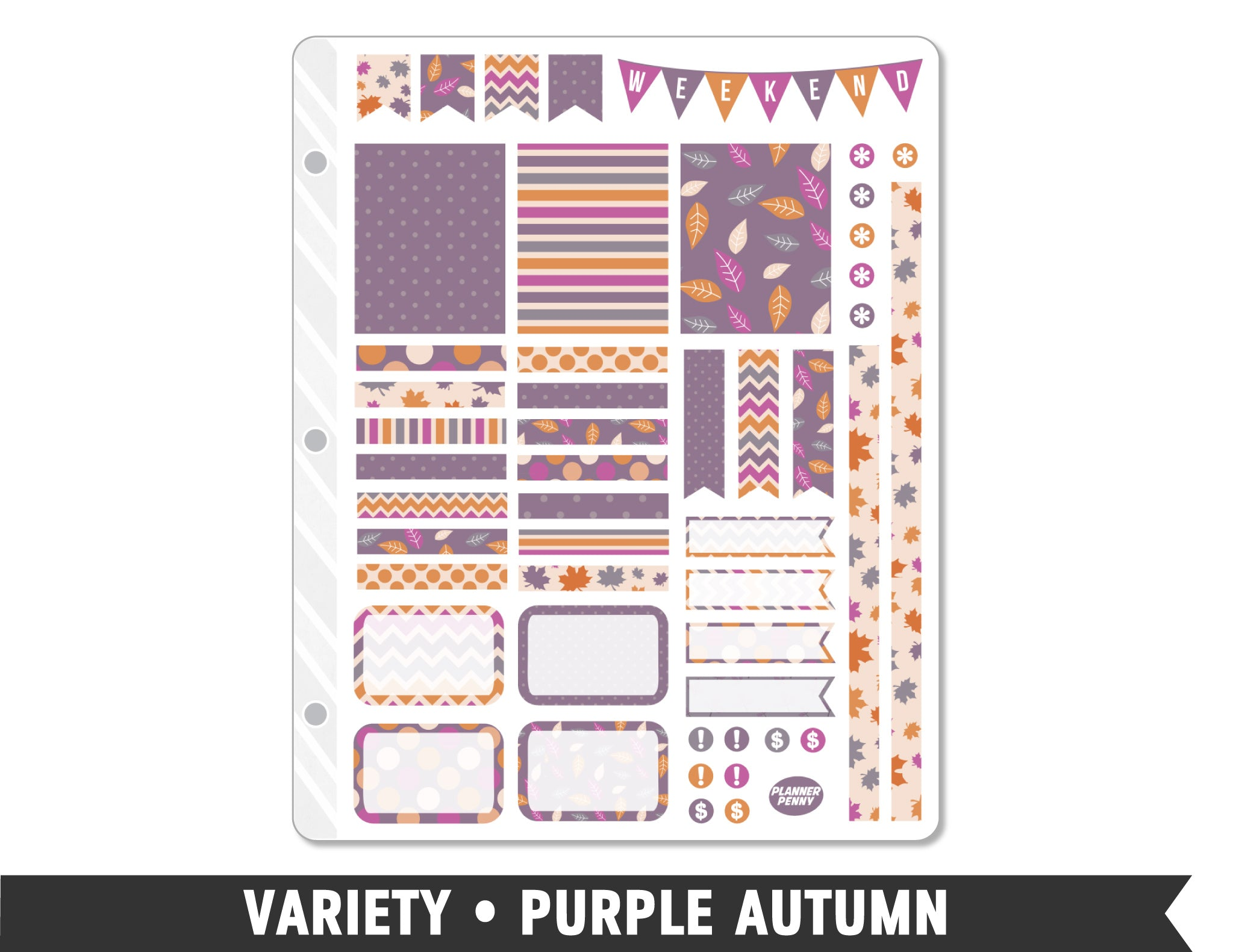 Variety • Purple Autumn Weekly Spread Planner Stickers