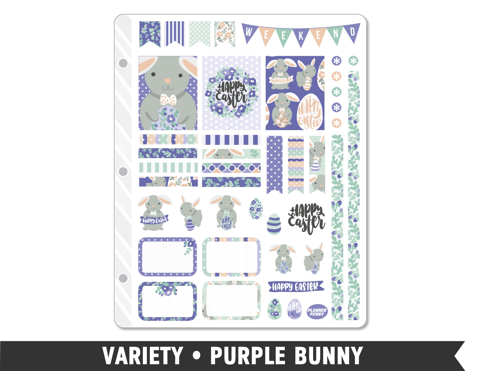 Variety • Purple Bunny Weekly Spread Planner Stickers - Planner Penny