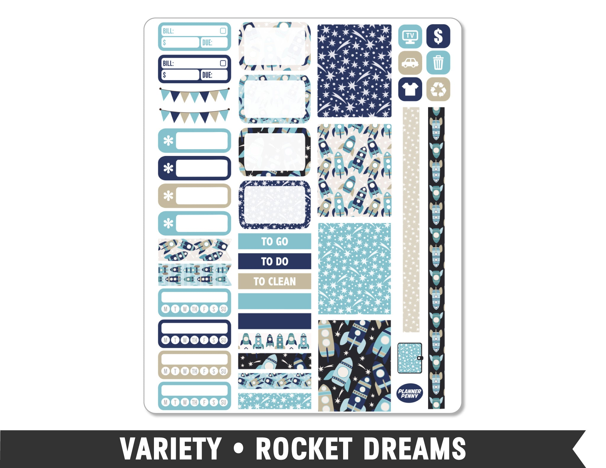 Variety • Rocket Dreams Weekly Spread Planner Stickers - Planner Penny