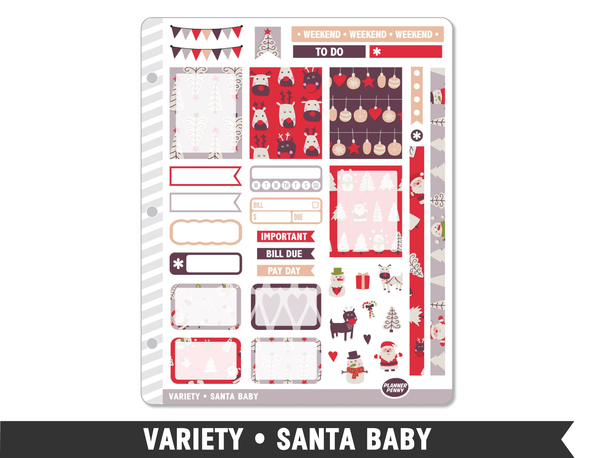 Variety • Santa Baby Weekly Spread Planner Stickers