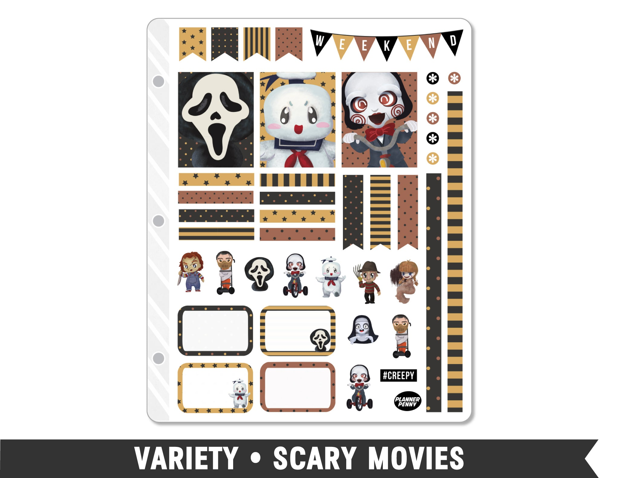 Variety • Scary Movies Weekly Spread Planner Stickers