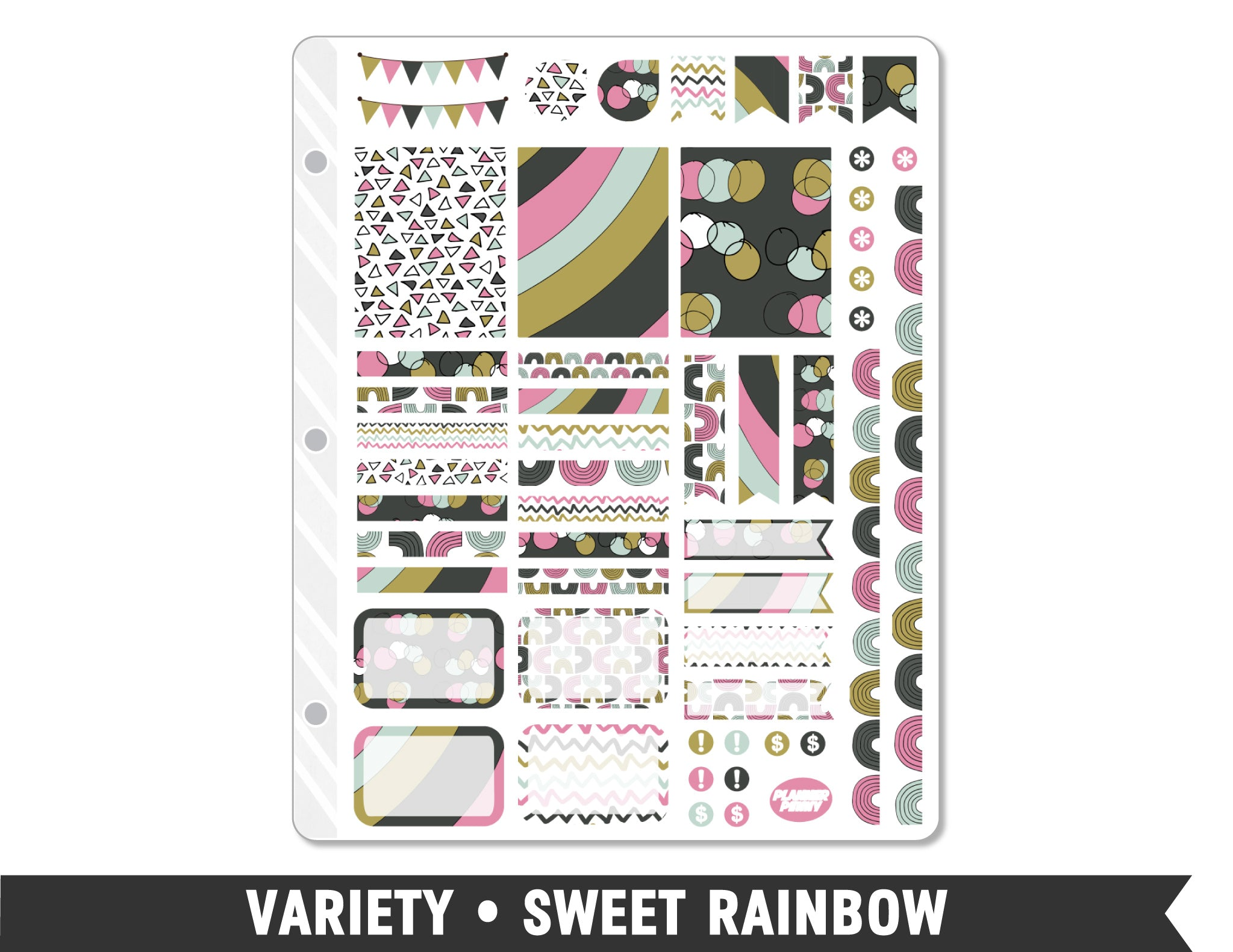 Variety • Sweet Rainbow Weekly Spread Planner Stickers - Planner Penny