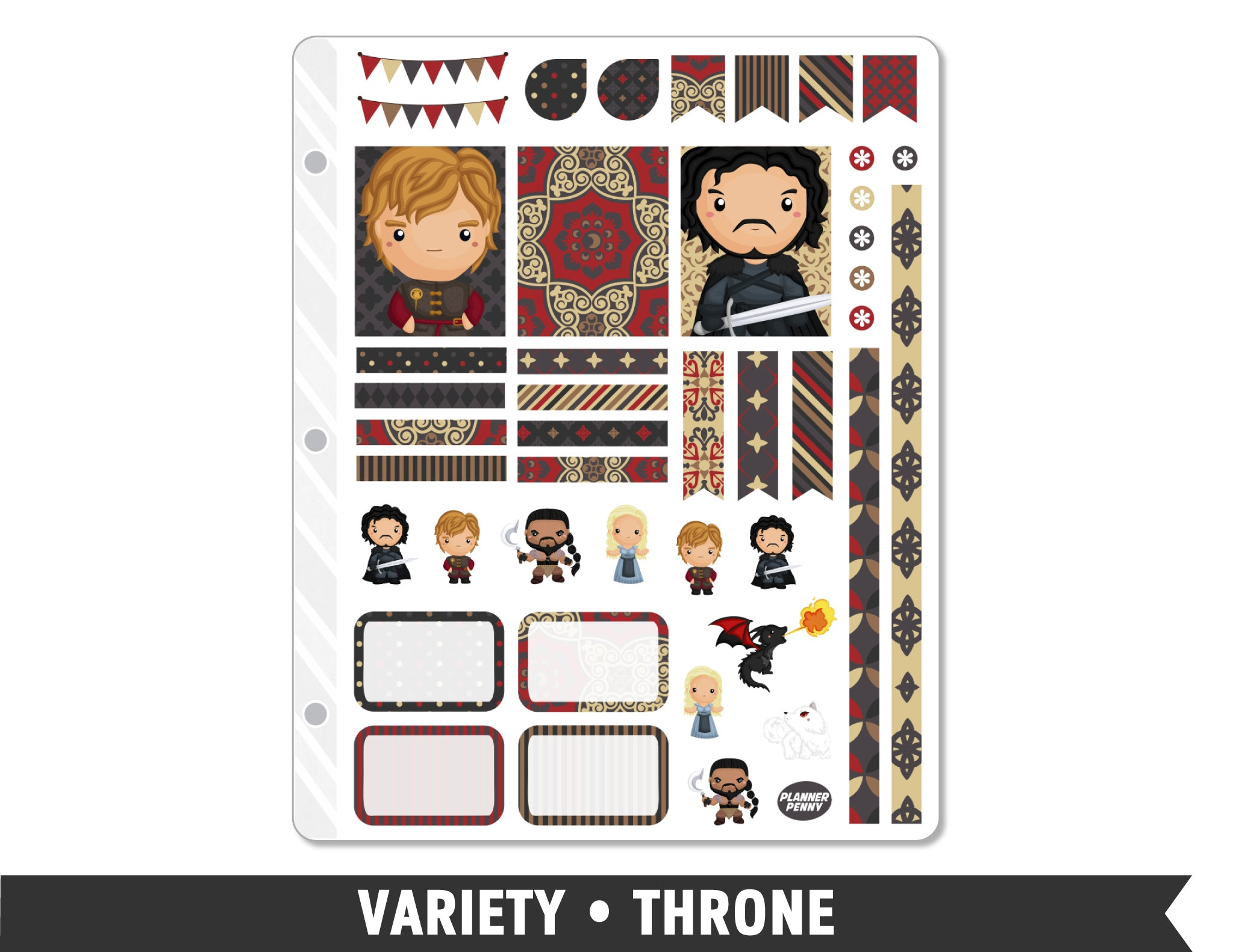 Variety • Thrones Weekly Spread Planner Stickers - Planner Penny