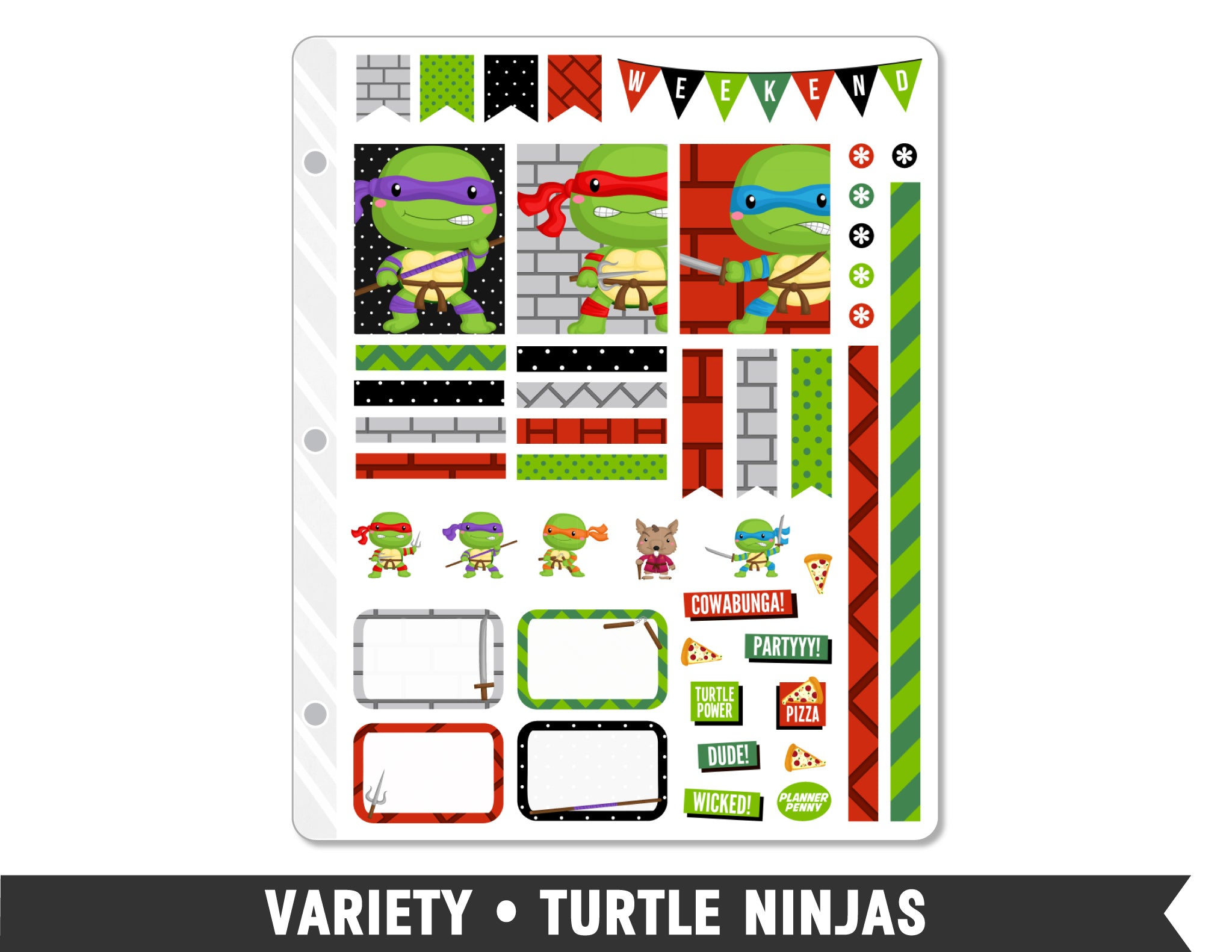 Variety • Turtle Ninjas Weekly Spread Planner Stickers