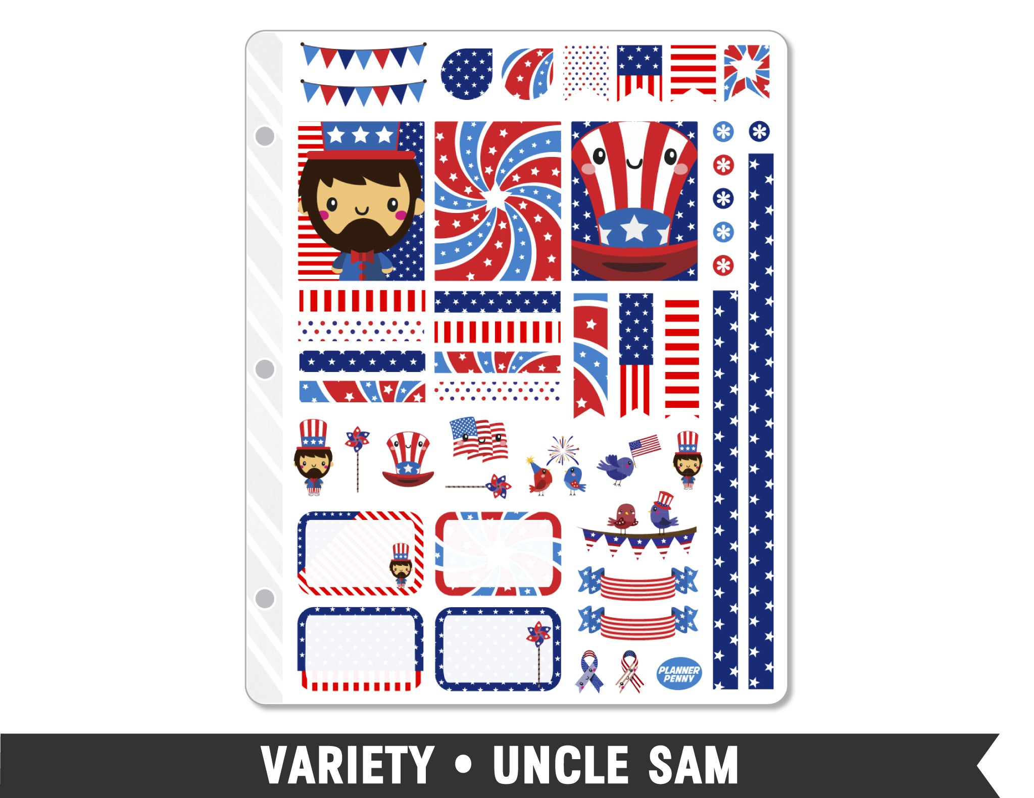 Variety • Uncle Sam Weekly Spread Planner Stickers - Planner Penny
