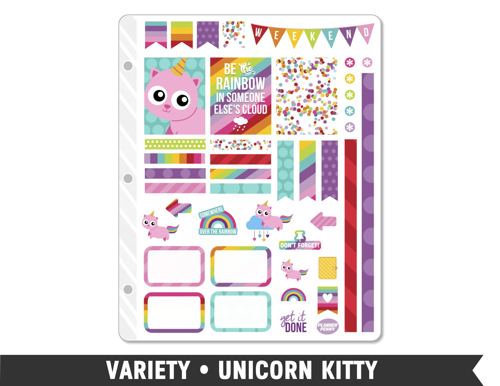 Variety • Unicorn Kitty Weekly Spread Planner Stickers