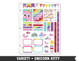 Variety • Unicorn Kitty Weekly Spread Planner Stickers - Planner Penny
