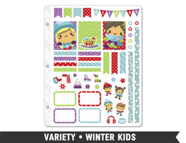 Variety • Winter Kids Weekly Spread Planner Stickers