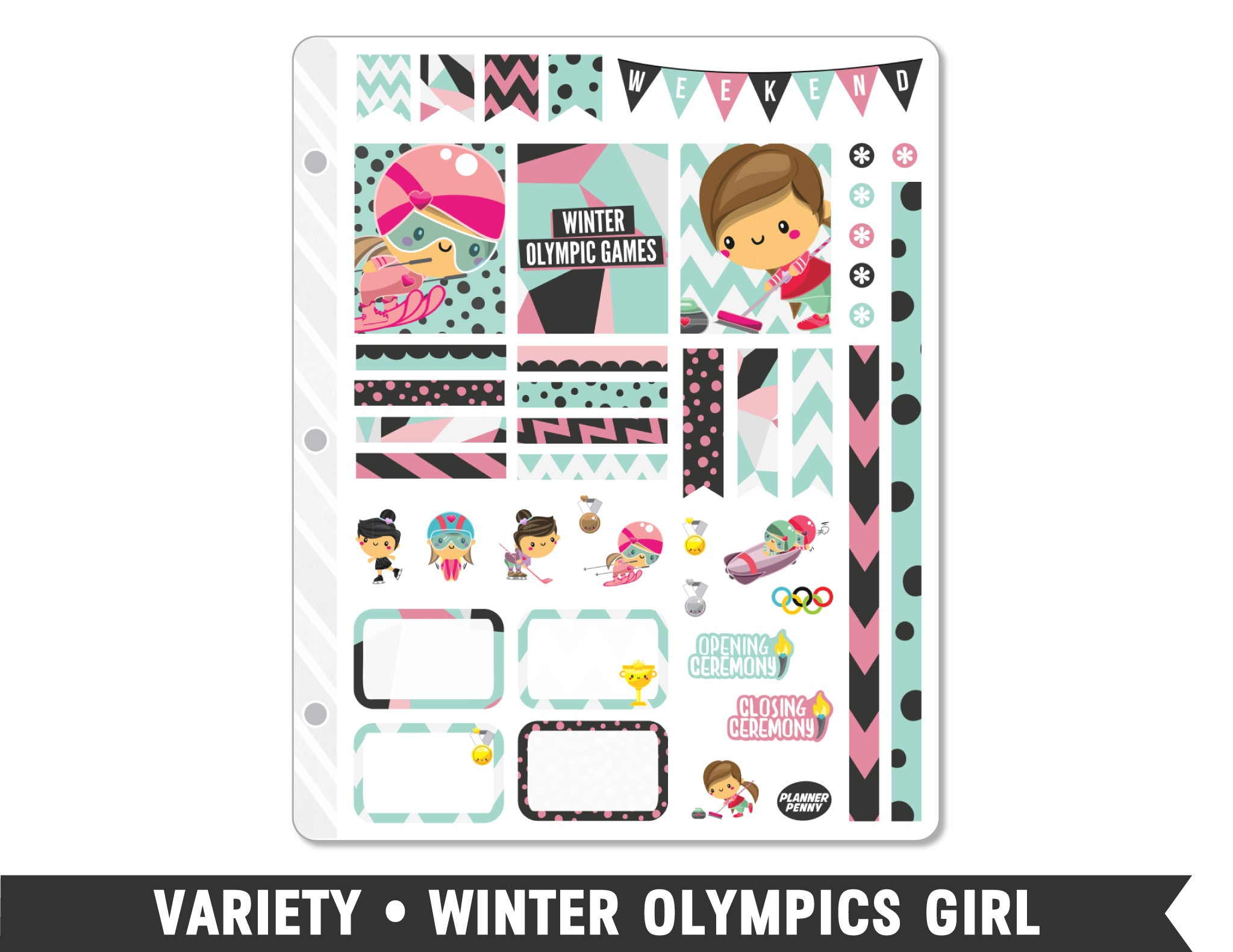 Variety • Winter Olympics Girl Weekly Spread Planner Stickers - Planner Penny