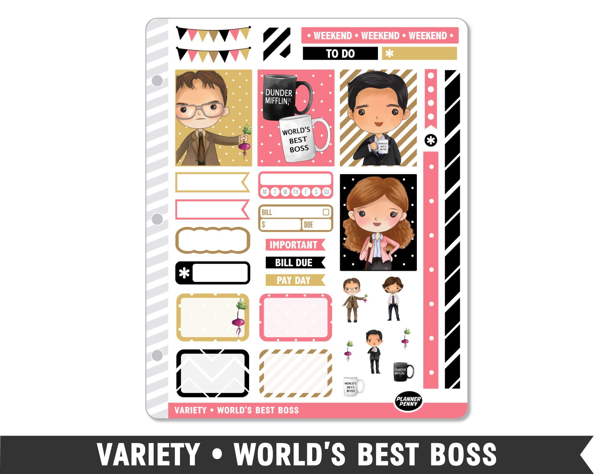 Variety • World's Best Boss Weekly Spread Planner Stickers