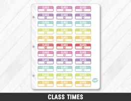 Class Times Planner Stickers - Planner Penny