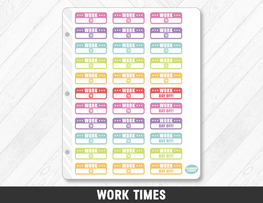 Work Times Planner Stickers - Planner Penny