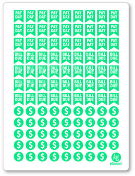 Bill Due/Pay Day Green Assortment PDF PRINTABLE Planner Stickers - Planner Penny