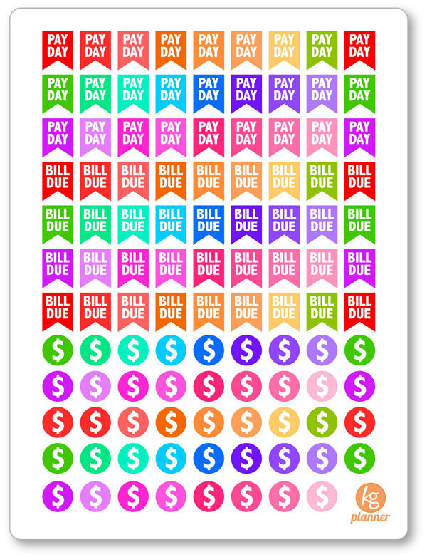 Bill Assortment PDF PRINTABLE Planner Stickers - Planner Penny