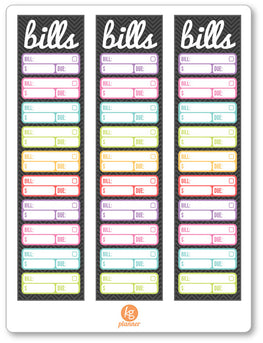 Bills Sidebar PDF PRINTABLE Planner Stickers - Planner Penny