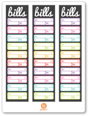 Bills Sidebar PDF PRINTABLE Planner Stickers