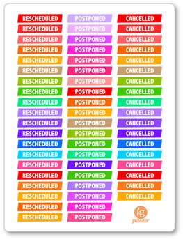 Canceled/Postponed/Reschedule PDF PRINTABLE Planner Stickers - Planner Penny